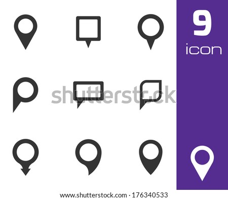 Vector black map pointer icons set on white background