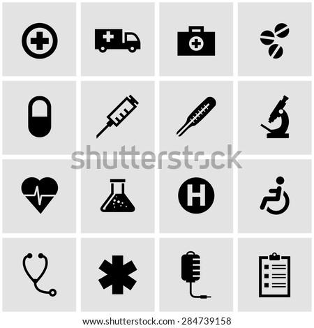 Vector black medical icon set.