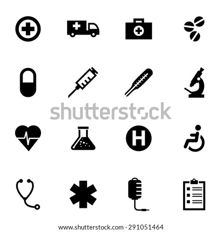 Vector black medical icon set.