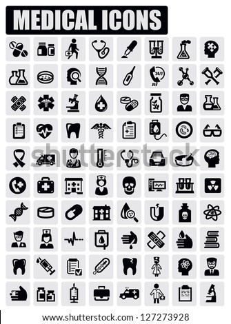 vector black medical icon set on gray