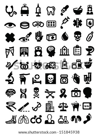 vector black medical icon set on white