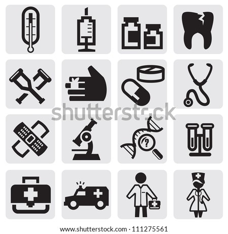 vector black medical icons set on gray