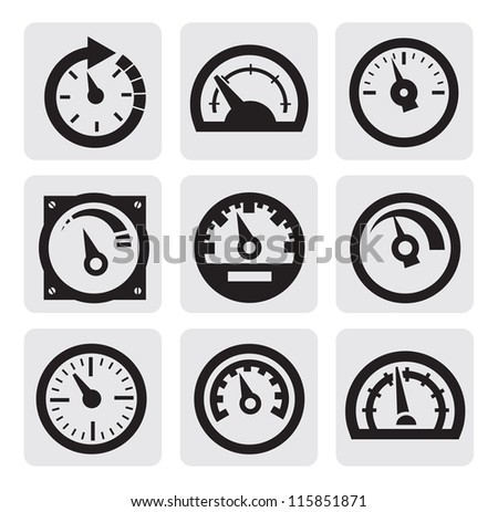vector black meter icons set on gray