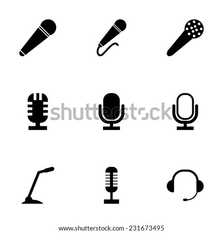 Vector black microphone icons set on grey background