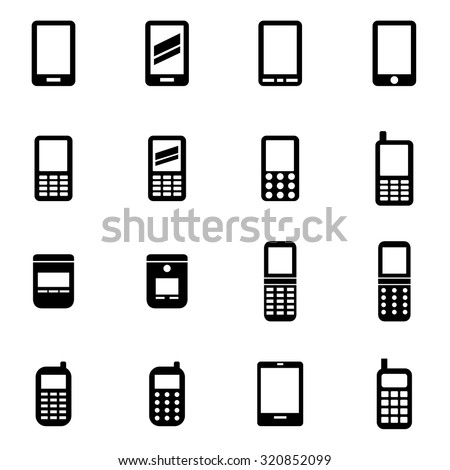 Vector black mobile phone icon set
