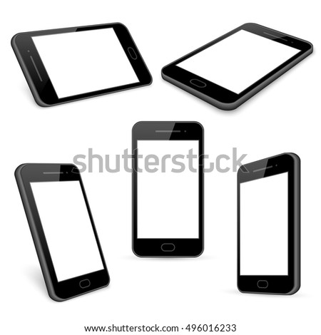 Vector black mobile phone templates set isolated on white. Gadget with touchscreen, telephone and smartphone illustration