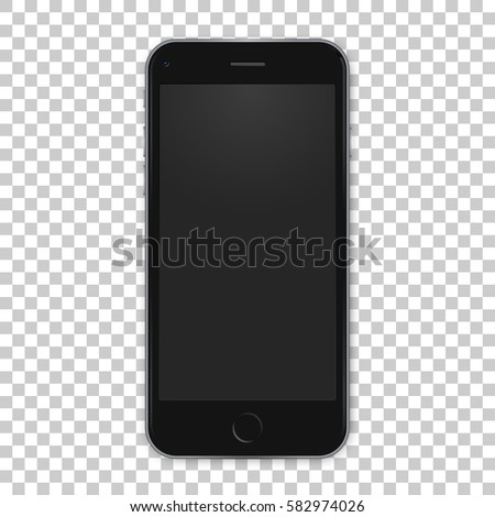 Vector black mobile template with empty screen. Realistic illustration.