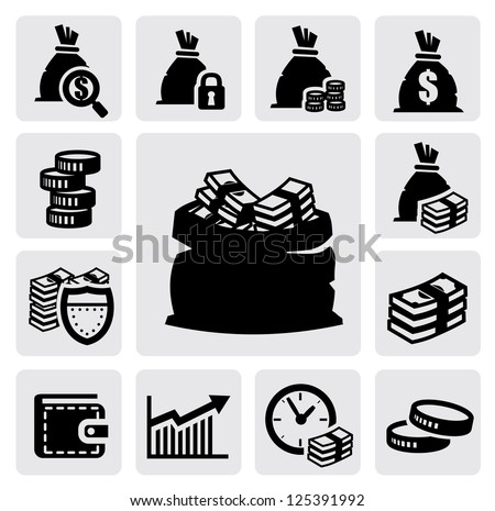 vector black money icons set on gray