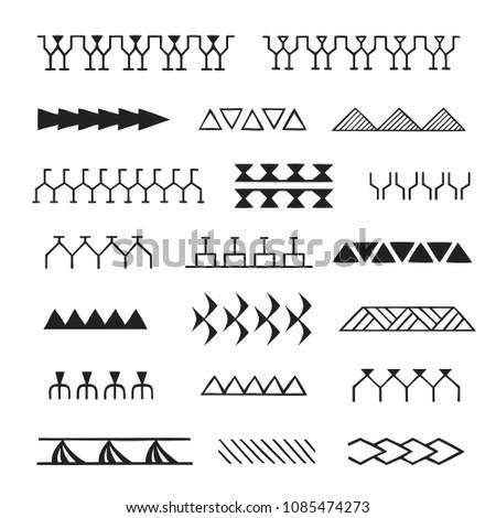 vector black monochrome ink hand drawn native polynesian folk art symbols stroke patterns enata, leaves, shark teeth, tuna, aniata, turtle shell, warrior, birds, spear illustrations isolated white bac