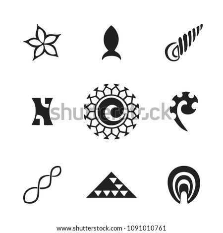 vector black monochrome ink hand drawn native polynesian folk art symbols sun, frangipani flower, fish, sea shell, Vai o Kena, fern, triple twist, shark teeth, ipu illustrations isolated white backgro