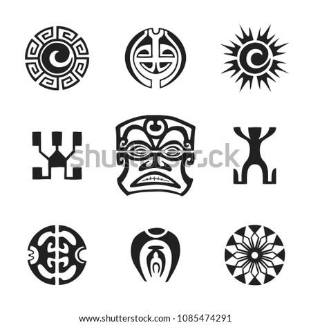 vector black monochrome ink hand drawn native polynesian folk art symbols Tiki, sun, Kautupa, Enata, all-seeing eye, flower illustrations isolated white background