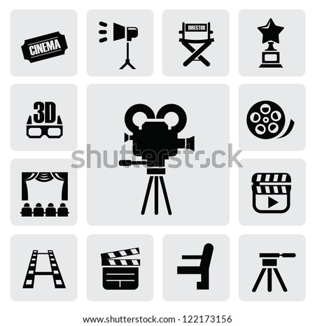 vector black movie icon set on