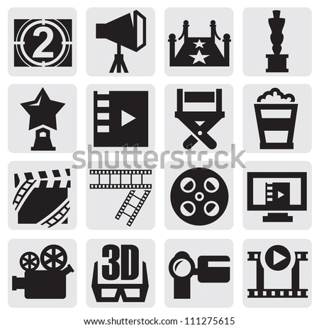 vector black movie icons set on ...