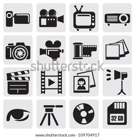 vector black movie technology icons set on gray