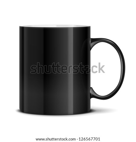 Vector Black mug cup isolated on white background