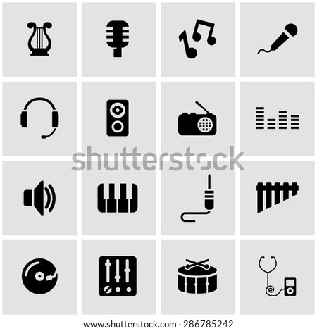 Vector black music icon set
