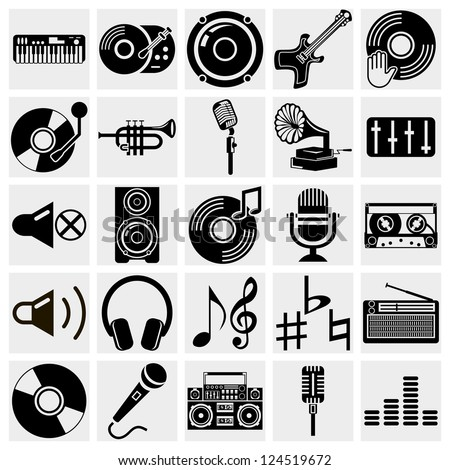 vector black music icons set on gray