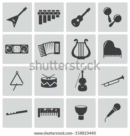 vector black music instruments