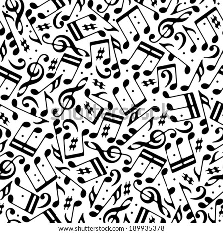 Vector black musical notes and treble clefs seamless pattern on white background.