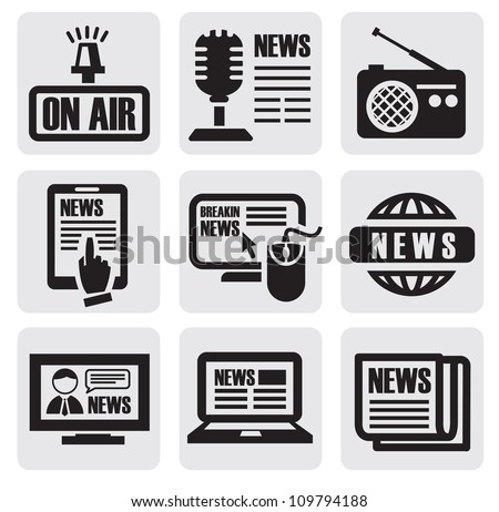 vector black newspaper media icons on gray