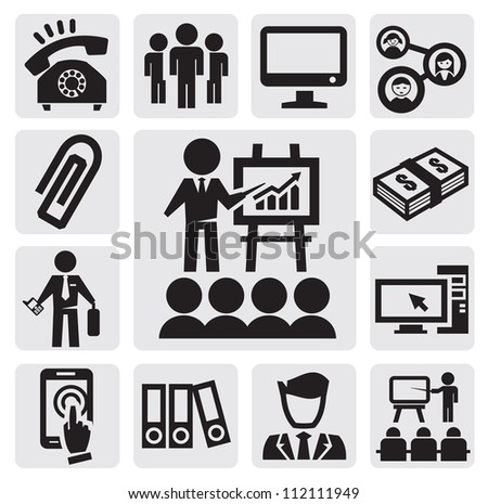 vector black office and business icons set