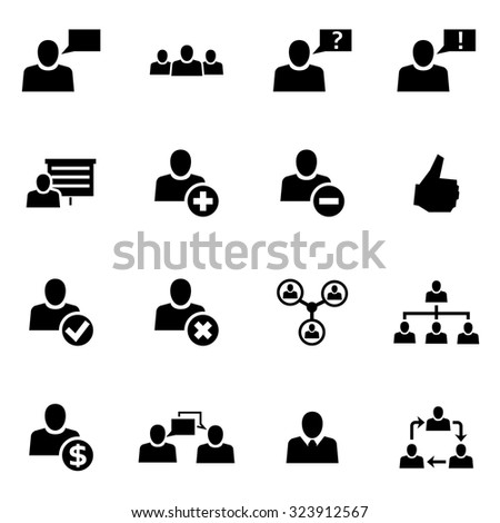 Vector black office people icon set