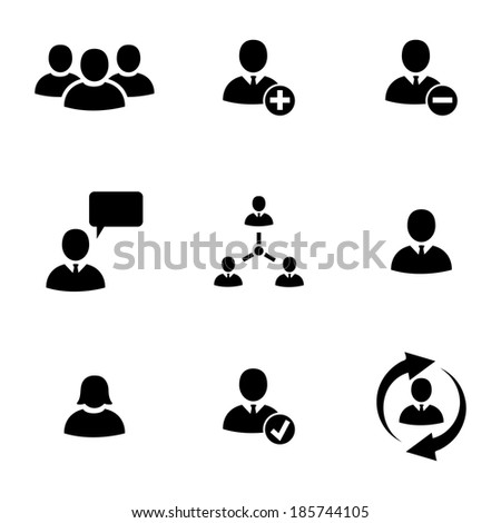 Vector black office people icons set white background