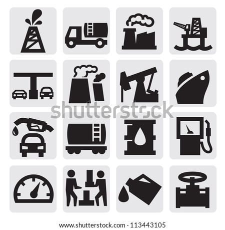 vector black oil icons set on gray