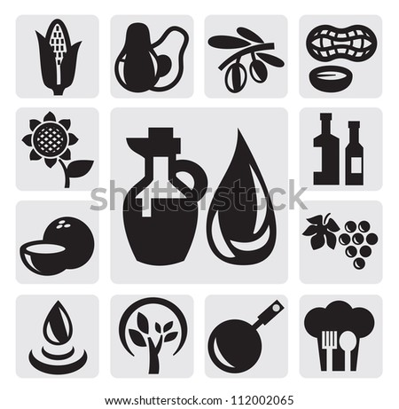 vector black oils icons set on gray