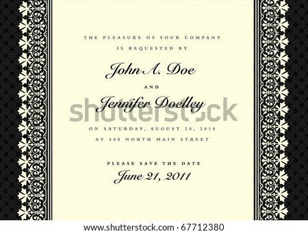 Vector black ornate frame. Easy to edit. Perfect for invitations or announcements.