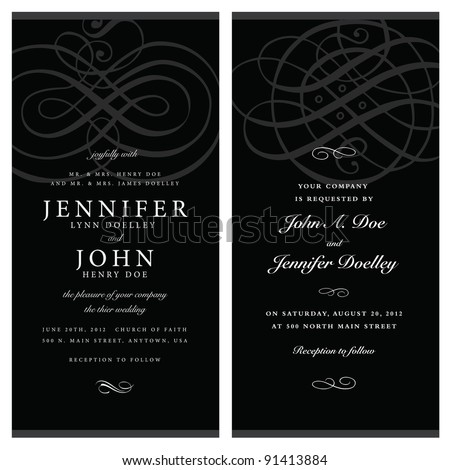 Vector Black Ornate Frame Set. Easy to edit. Perfect for invitations or announcements.