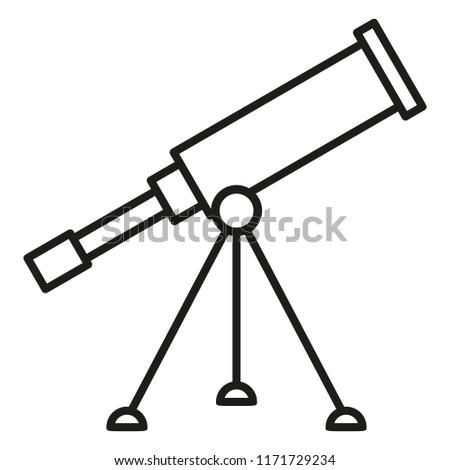 Vector Black Outline Icon - Astronomical Telescope