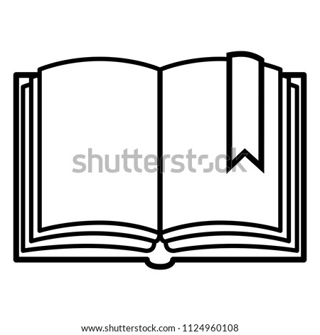 Vector Black Outline Icon - Open Blank Book with Bookmark