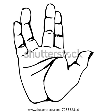 Vector black outline illustration of a human hand sign salute vulcan isolated on white background. Can be used for web, poster, info graphic.