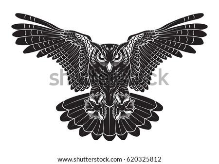 vector black owl line work
