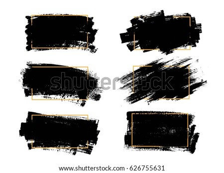 Vector black paint, ink brush stroke, brush, line or texture. Dirty artistic design element, box, frame or background  for text.  #626755631