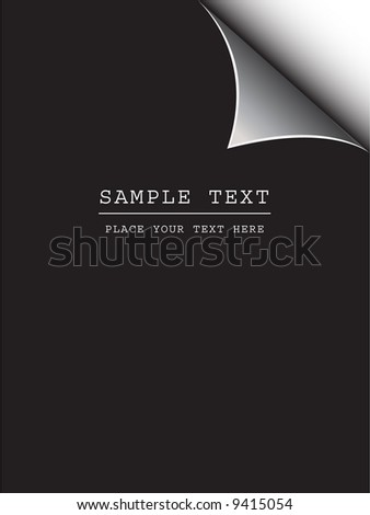 Vector - Black paper with realistic page curl. Copy space for image or text.