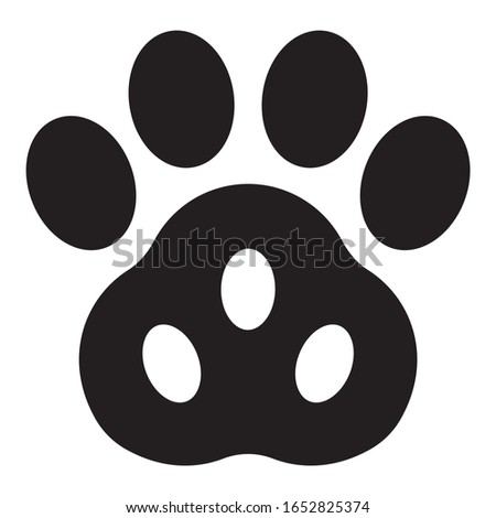 Vector black paw icon isolated on white background . Perfect for design of blog ,banner,poster,fashion,web sites,apps,typography,T-shirt,logo,child prints.Flat illustration.
