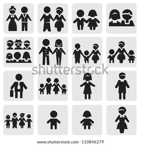 vector black people icons set on gray - stock vector