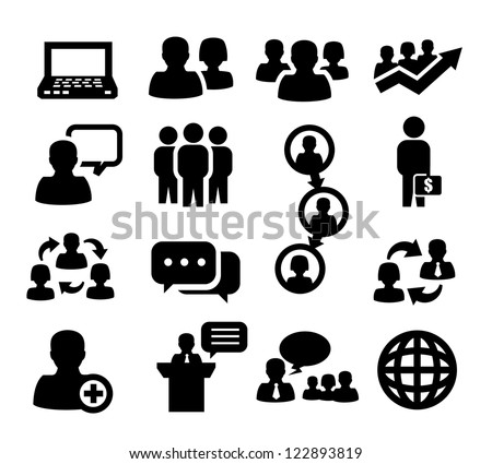 vector black people icons set on gray