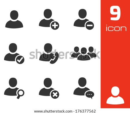 Vector black people icons set on white background