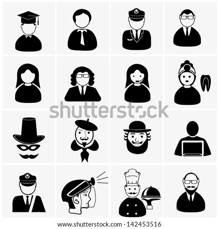 vector black people professions icon set on gray