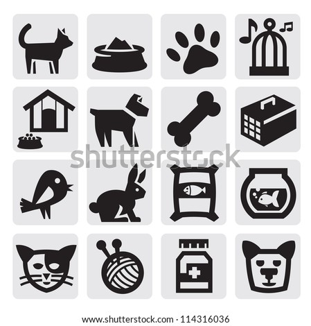 vector black pets icons set on gray
