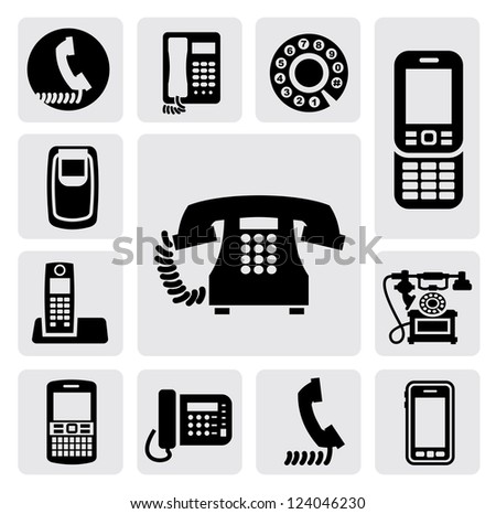 vector black phone icons set on gray