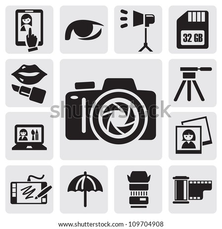 vector black photo icons set on gray background