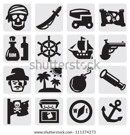 vector black pirates icons set on gray