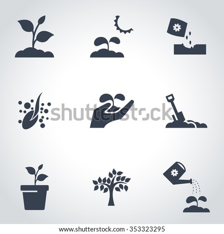 Vector black plant growing icon set.