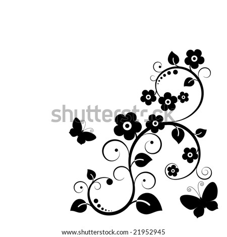 Vector. Black plant with flowers.