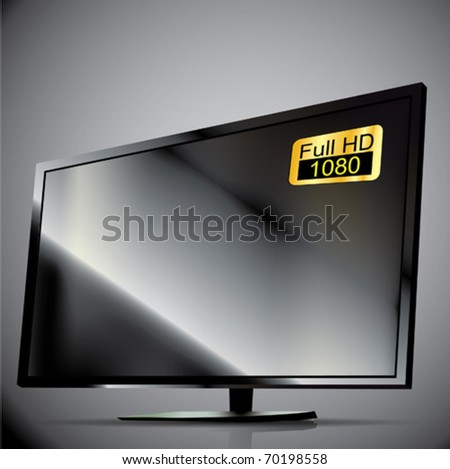 Vector Black Plasma TV. 3D - stock vector