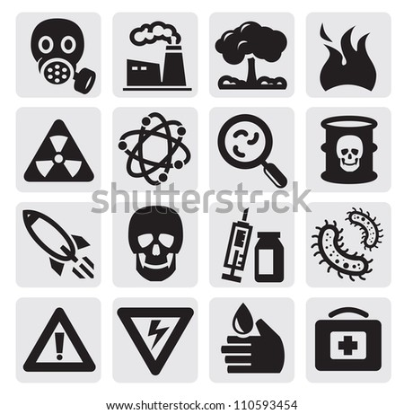 vector black pollution icon set